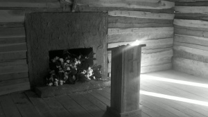 That is fresh-picked cotton lying in the fireplace. There was also some tacked above the door. I'm not sure why it is there.)